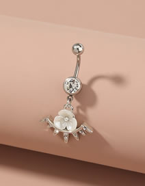 Fashion Silver Stainless Steel Zircon Pearl Three Petal Flower Belly Button Nail