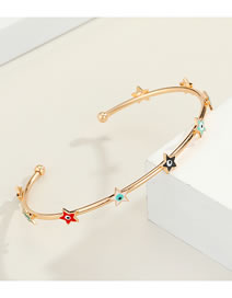 Fashion Golden color star eye Eyes Real Gold Plated Diamond Drop Oil Open Bracelet