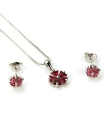 Fashion Platinum Plated Red Zirconium Copper Inlaid Zircon Flower Necklace Earrings