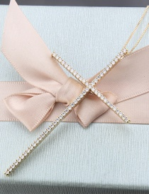 Fashion Gold-plated White Zircon Large Cross Inlaid Zirconium Copper Plating Necklace