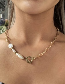 Fashion Gold Coloren Natural Freshwater Pearl Asymmetric Geometric Necklace