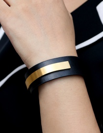 Fashion Black+gold Color U-shaped Stainless Steel Curved Piece Titanium Steel Pu Wide Leather Bracelet
