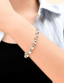 Fashion Silver Crystal Resin Beaded Elastic Bracelet
