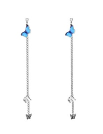 Fashion Silver Dripping Butterfly Alloy Chain Earrings
