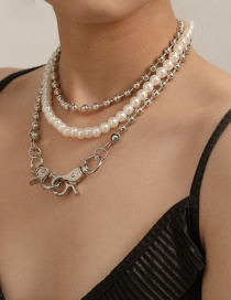 Fashion White K Pearl Double Button Alloy Multilayer Necklace