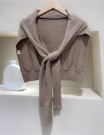 Fashion Coffee Knitted Knotted Woolen Shawl Scarf