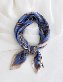 Fashion Gold Colorchain Leather Blue Pleated Silk Butterfly Stripe Print Geometric Small Square Scarf
