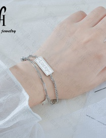 Fashion Silver Letter Five-pointed Star Diamond Multilayer Bracelet