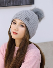 Fashion Gray Rabbit Fur Double-layer Thick Pure Color Wool Ball Knitted Woolen Hat