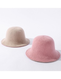 Fashion Skin Flour + Rice Pure Color Knitted Double-sided Fisherman Hat