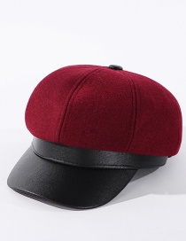 Fashion Wine Red Solid Color Leather Brim Stitching Contrast Color Octagonal Hat