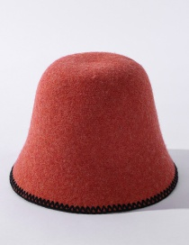Fashion Orange Cashmere Embroidered Lace Solid Color Fisherman Hat