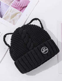Fashion Black Plush Padded Patch Letter Knitted Cat Ear Woolen Hat