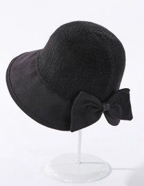 Fashion Black Cashmere Stitching Knitted Bowknot Solid Color Fisherman Hat