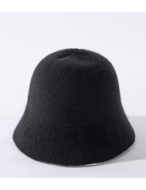 Fashion Black Solid Color Knitted Stitching Fisherman Hat