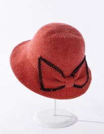 Fashion Orange Cashmere Embroidery Lace Bow Fisherman Hat