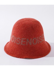Fashion Orange Knitted Fisherman Hat With Wool Letters