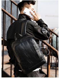 Fashion Black Stitched Zipper Solid Color Backpack