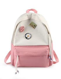 Fashion Pink Small Daisy Stitching Contrast Color Backpack