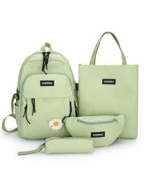 Fashion Light Green Letter Logo Solid Color Canvas Backpack Four-piece Set