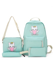 Fashion Light Green Four-piece Cat Love Printed Backpack