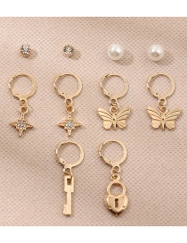 Fashion Gold Color Diamond-studded Star Pearl Butterfly Earring Set