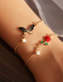 Fashion Color Mixing Pearl Alloy Dripping Rose Flower Butterfly Bracelet Set