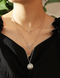 Fashion Gold Color Micro Diamond Love Heart Butterfly Eye Alloy Multilayer Necklace