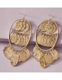 Fashion Gold Color Three-tier Alloy Oval Disc Earrings