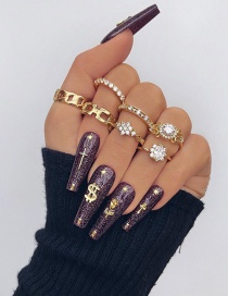 Fashion Gold Color Diamond And Water Drop Flower Twist Alloy Ring Set