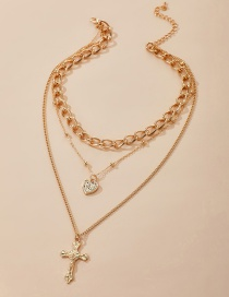 Fashion Gold Color Alloy Cross Love Multilayer Necklace
