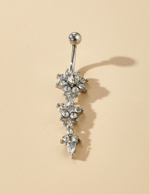 Fashion Flowers Body Piercing Stainless Steel Inlaid Single-head Drill Navel Nail