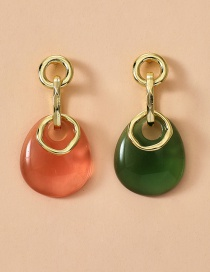 Fashion Color Mixing Translucent Drop-shaped Resin Earrings