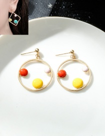 Fashion Round Yellow Contrasting Color Geometric Dripping Alloy Earrings
