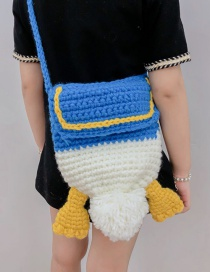 Fashion Straight Side Tail Bag Blue Hand-woven Donald Duck Butt Childrens Wool Hat One Shoulder Messenger Bag