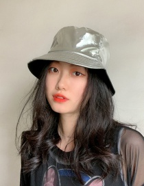 Fashion Silver Patent Leather Double-sided Foldable Fisherman Hat