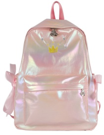 Fashion Pink Embroidered Crown Gradient Laser Bow Backpack