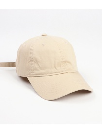 Fashion Off-white Distressed Washed Cotton Solid Color Cap