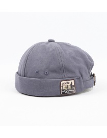 Fashion Light Blue Letter Patch Stitching Landlord Hat