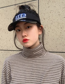 Fashion Empty Top-black Anti-uv Lovers Letter Embroidered Empty Sun Hat