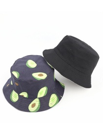 Fashion Navy Canvas Avocado Print Double-sided Fisherman Hat