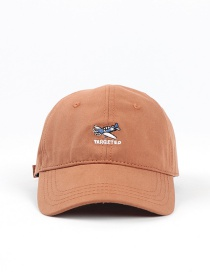 Fashion Brick Red Small Airplane Embroidered Letter Soft Top Cap