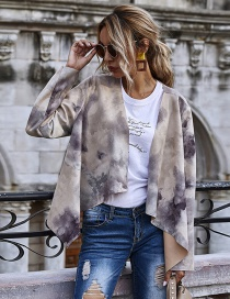 Fashion Gray Suede Printed Long Sleeve Jacket
