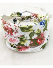 Fashion Flower Green Printed Wide-sided Geometric Stretch Headband