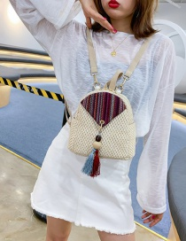 Fashion Creamy-white Straw Tassel Contrast Pearl Backpack