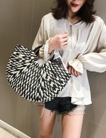 Fashion Black And White Color Matching Hand-woven Hit Color Handbag