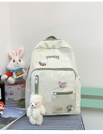 Fashion White And Green Send Bear Pendant Transparent Stitching Nylon Cloth Letter Embroidery Backpack