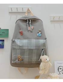 Fashion Gray Send Bear Pendant Contrast Checkered Nylon Fabric Backpack