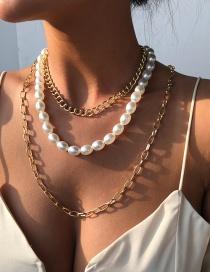 Collar Multicapa Con Hebilla Ot De Perlas De Aleación