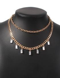 Fashion Gold Color Alloy Diamond Geometric Double Necklace